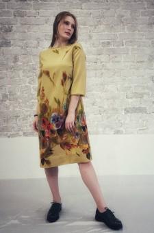 прямое желтое платье, свободное яркое платье