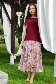белая сиреневая шелковая юбка